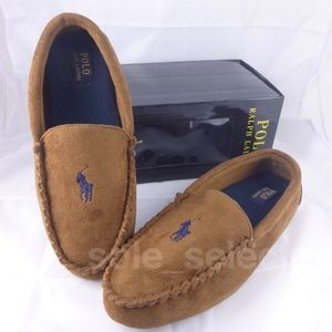NWT Polo Ralph Lauren Moccasin Slippers Tan sz 10